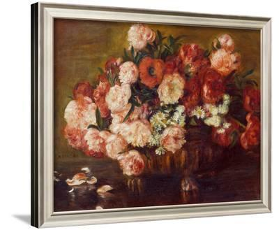 Still-Life with Peonies, 1872-Pierre-Auguste Renoir-Framed Giclee Print