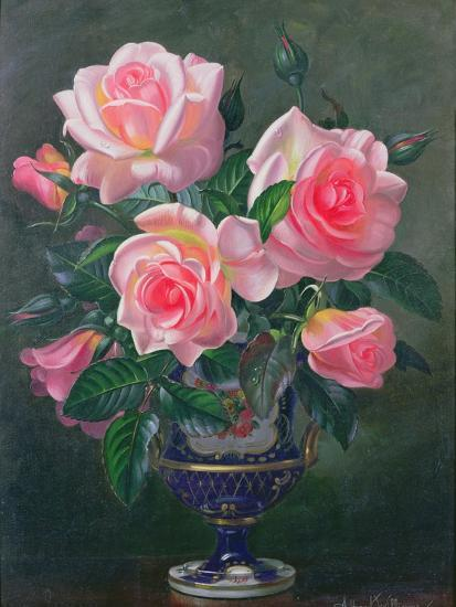 Still Life with Pink Roses in Vases-Albert Williams-Giclee Print