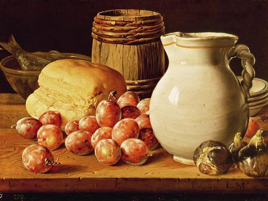 Still Life with Plums, Figs, Bread and Fish-Luis Egidio Melendez-Giclee Print