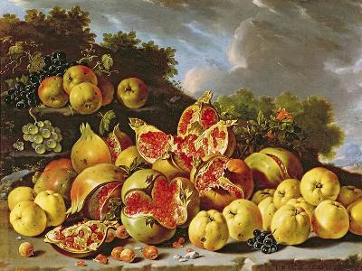 Still Life with Pomegranates, Apples, Cherries and Grapes- Melendez-Giclee Print