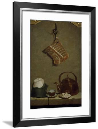 Still Life with Quarter of Meat, Sugar Bread, Copper Kettle and Cup-Jean-Baptiste Oudry-Framed Giclee Print