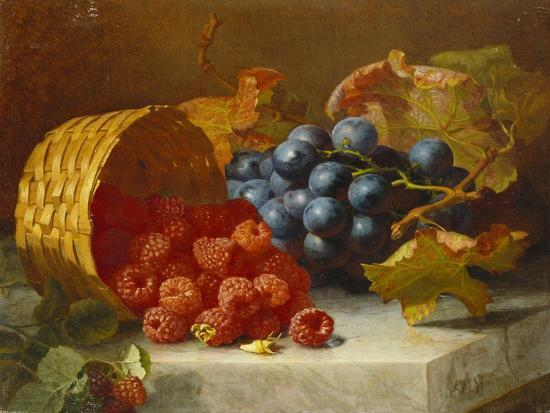 Still Life with Raspberries and a Bunch of Grapes on a Marble Ledge, 1882-Eloise Harriet Stannard-Giclee Print
