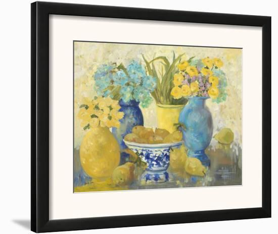 Still Life With Roses And Pears-Lorrie Lane-Framed Art Print