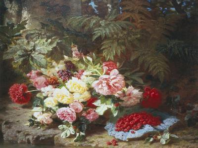 Still Life with Roses and Raspberries-Jean Baptiste Claude Robie-Giclee Print