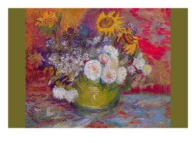 Still-Life with Roses and Sunflowers-Vincent van Gogh-Art Print