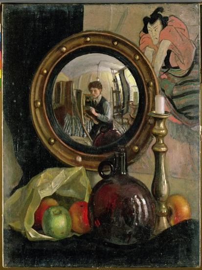 Still Life with Self Portrait Giclee Print by Mark Gertler | Art com