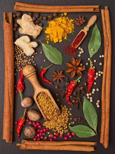 Still Life with Spices and Herbs in the Frame-Andrii Gorulko-Photographic Print