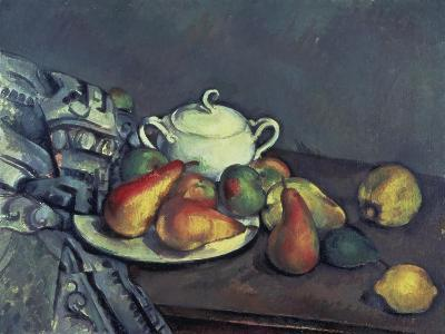 Still Life with Sugar Can, Pears and Tablecloth-Paul C?zanne-Giclee Print