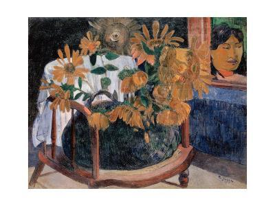 Still Life with Sunflowers on an Armchair-Paul Gauguin-Giclee Print