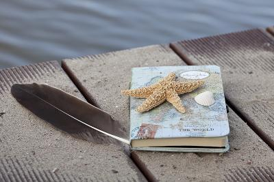 Still Life with Travel Diary, Foodbridge, Mussel, Feather, Starfish-Andrea Haase-Photographic Print