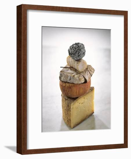 Still Life with Various Types of French Cheese-Nicolas Leser-Framed Photographic Print