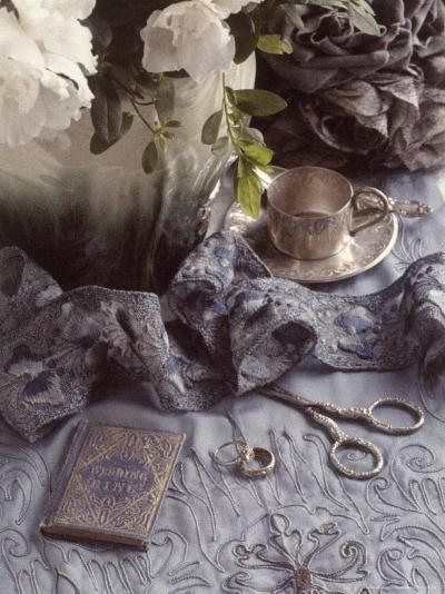 Still Life with Vase, Wedding Rings, Silver Tea Set-Wendi Schneider-Photographic Print