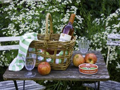 Still-Life with Wine, Cheese and Apples, in the Garden of a House in St. Denis Le Ferment-Barbara Van Zanten-Photographic Print