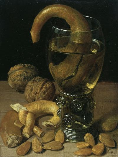 Still-Life with Wine Glass, Pretzel, Nuts and Almonds, 1637-Georg Flegel-Giclee Print
