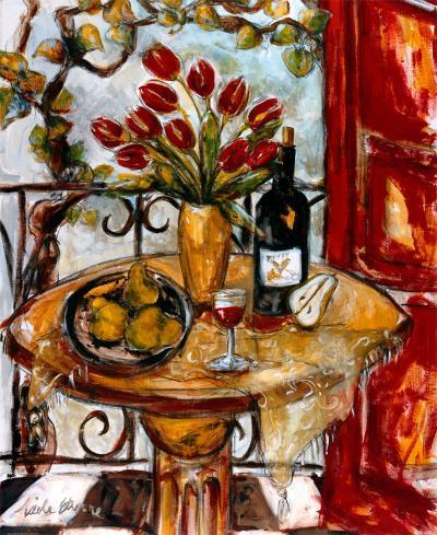 Still Life Wtih Blooming Red Tulips-Nicole Etienne-Art Print