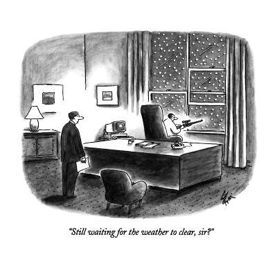 """""""Still waiting for the weather to clear, sir?"""" - New Yorker Cartoon-Frank Cotham-Premium Giclee Print"""