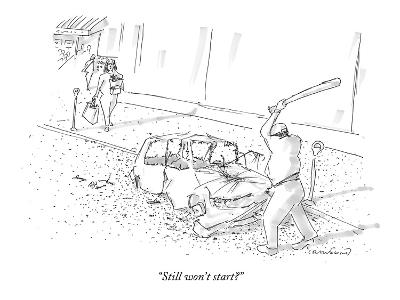 """Still won't start?"" - New Yorker Cartoon-Michael Crawford-Premium Giclee Print"