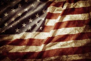 Closeup of Grunge American Flag by STILLFX