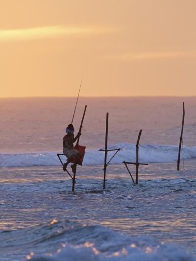 Stilt Fisherman at Weligama, South Coast, Sri Lanka, Asia-Peter Barritt-Photographic Print