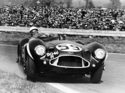 Stirling Moss Diving an Aston Martin DB3S, Goodwood, West Sussex, 1956