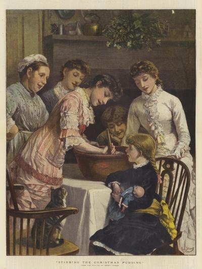 Stirring the Christmas Pudding-Henry Woods-Giclee Print