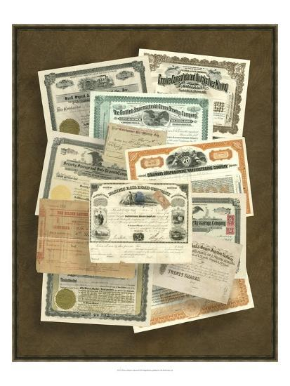 Stock Certificate Collection--Art Print