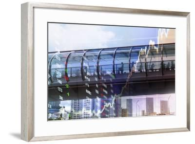 Stock Market Graph with Cityscape-Hiroshi Watanabe-Framed Photographic Print