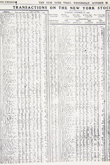 Stock-market listings as recorded in the New York Times, Wednesday, 30 October, 1929-Unknown-Photographic Print