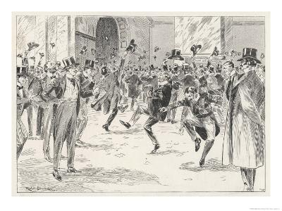 Stockbrokers Dance for Joy at News of the Boers' Surrender in the War in Africa-Ralph Cleaver-Giclee Print