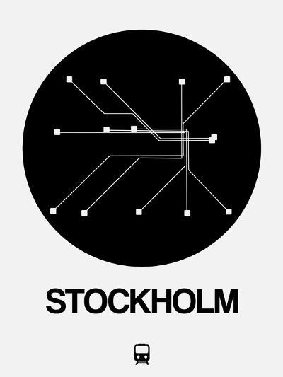 Stockholm Black Subway Map-NaxArt-Art Print