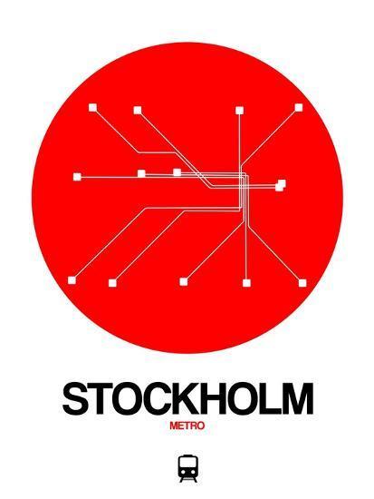 Stockholm Red Subway Map Art Print By Naxart Art Com