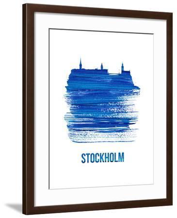 Stockholm Skyline Brush Stroke - Blue-NaxArt-Framed Art Print