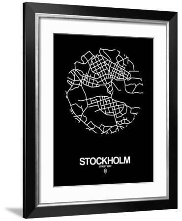 Stockholm Street Map Black-NaxArt-Framed Art Print
