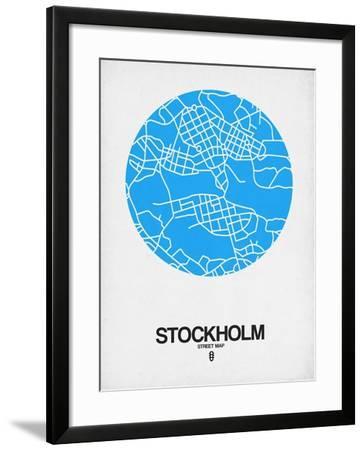 Stockholm Street Map Blue-NaxArt-Framed Art Print