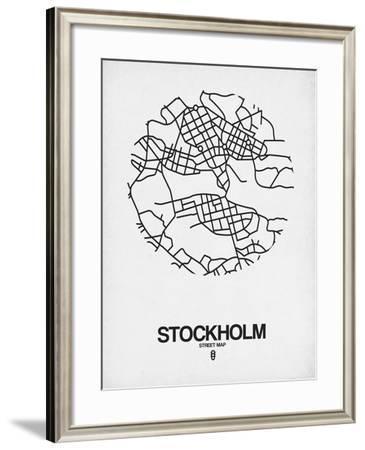 Stockholm Street Map White-NaxArt-Framed Art Print