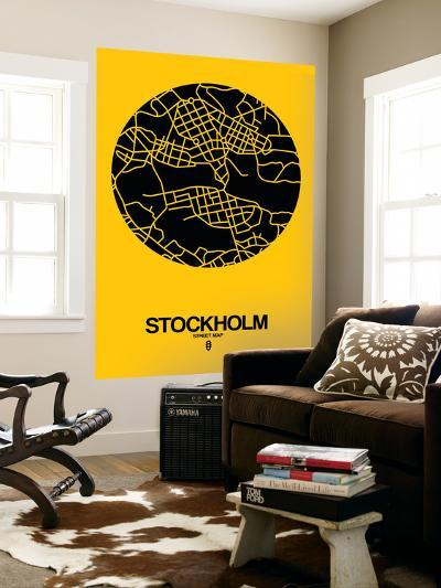 Stockholm Street Map Yellow-NaxArt-Wall Mural