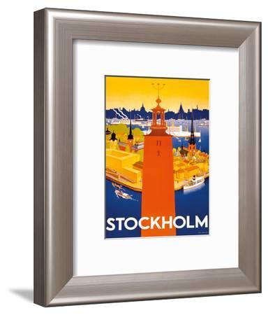Stockholm - Sweden - Port of Stockholm and City Hall-Iwar Donner-Framed Art Print