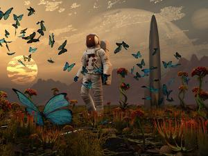 A Astronaut Is Greeted by a Swarm of Butterflies on an Alien World by Stocktrek Images