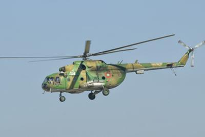 A Bulgarian Air Force Mi-8 Helicopter in Flight over Bulgaria by Stocktrek Images