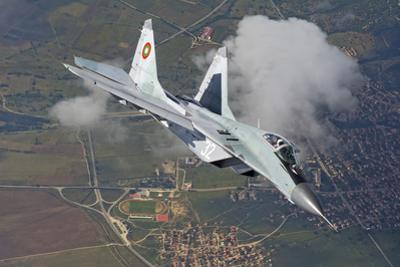 A Bulgarian Air Force Mig-29 in Flight over Bulgaria by Stocktrek Images