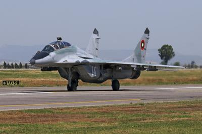 A Bulgarian Air Force Mig-29Ub Fulcrum Taxiing by Stocktrek Images