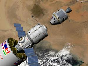A Command Module Prepares to Dock with a Phobos Mission Rocket in Earth Orbit by Stocktrek Images