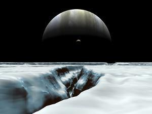 A Crescent Jupiter and Volcanic Satellite, Io, Hover over the Horizon of the Icy Moon of Europa by Stocktrek Images