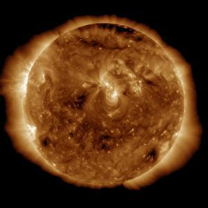 A Dark Rift in the Sun's Atmosphere known as a Coronal Hole by Stocktrek Images