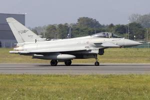 A Eurofighter Typhoon 2000 of the Italian Air Force Taxiing on the Runway by Stocktrek Images
