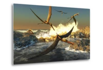 A Flock of Anhanguera Pterosaurs Catch Fish Off a Rocky Coast