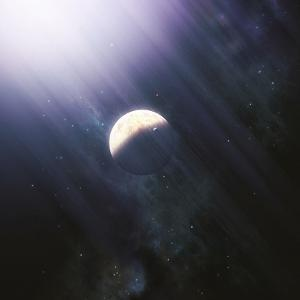 A Lonely Planet and its Moon Float Quietly Within the Bright Blue Rays of its Blue HypergiantParent by Stocktrek Images