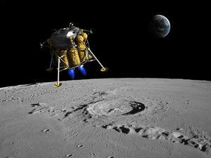 A Lunar Lander Begins its Descent to the Moon's Surface by Stocktrek Images