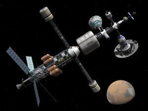 A Manned Mars Cycler Space Station Approaches the Planet Mars by Stocktrek Images