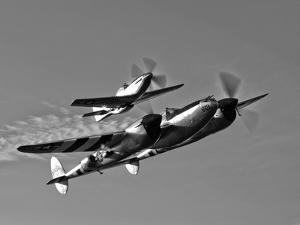 A P-38 Lightning and P-51D Mustang in Flight by Stocktrek Images